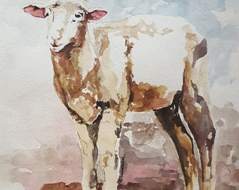 Sheep Print of original watercolor painting 8.5 x 11 paper size Sheep art Sheep painting Sheep watercolor print Sheep wall art nursery art