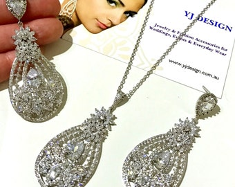 Glamour Bridal Jewelry Set, Statement Bridal Earrings, Cz Drop Bridal Necklace, Vintage Wedding Earrings, Silver Wedding Necklace, STARLET