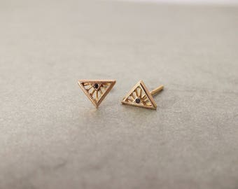 Tiny Art Deco diamond stud earrings - 18k gold Diamond Solitarire Stud Earrings - black diamond studs -  rose gold stud - tiny diamond studs