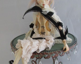 VIOLINIST GABRIELLA, paper clay jointed art doll, handmade in the USA