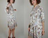 India Cotton Dress Vintage Neutrals Paisley Floral India Cotton Draped Boho Tent Dress (s m l)