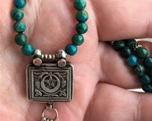 Chrysocolla Necklace, Old India Silver, Talisman, Ethnic Jewelry