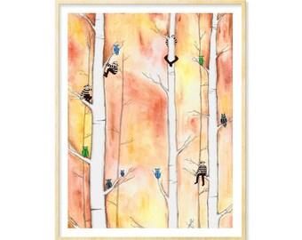 Owl Art, Her Funny Gift Art, Dorm Decoration, Her Dorm Wall Print, Birch Wall Art, Owls, Woodland Creature, Woodsy, Burglars, Fantasy, 11x14