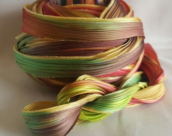 1/2 yd Shibori Ribbon Hand Dyed Silk Ribbon Wildflower Shibori Girl