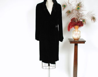 Vintage 1920s Coat - Plush Black Silk Velvet 20s Coat with Fabulous Shirred Collar and Sleeves