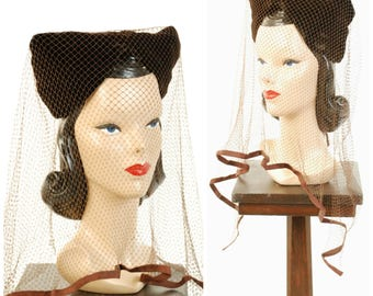 Vintage 1940s Hat  - Stunning Brown Velvet Bicorn Turban with Pointed Corners with Massive, Decadent Cage Veiling