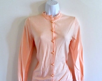 Vintage 60s Baby Pink Ruffle Cardigan - Size S