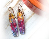 Polymer Clay Earrings Jewelry featuring an Abstract Multi Color Design in Yellow Gold, Magenta and Purple