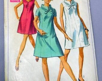 Simplicity 7987 - Mod A-Line Dress w/ Princess Seams - Sundress - 1960s Vintage Pattern - Size 14 - Bust 36 - Good Condition DIY Fashion