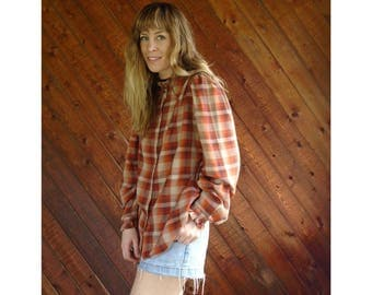 Farmhouse Plaid Checkered l/s Button Blouse - Vintage 70s - L