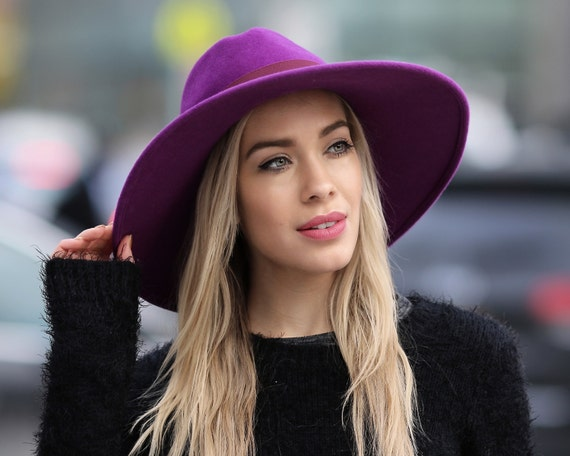 Purple Women's Hat Wide Brimmed Hat Felt Fedora Hat Dress Hat Gift For Her Spring Hat Spring Fashion Winter Accessories Custom Color Hat