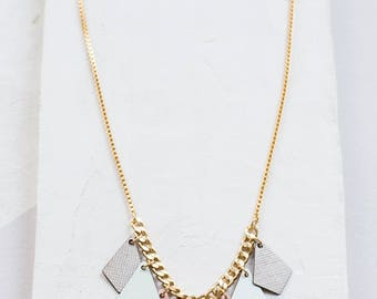 FORMICA® Kites Delicate Necklace, pastels gold silver plated bib colorful diamond shaped geometric jewelry