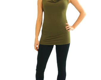 Simple Cowl Tank - XS - LEAF - Organic Cotton/Spandex