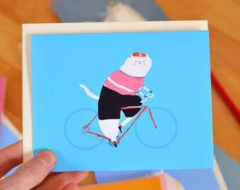 Bike Rider Cat Card - Cycling Card - Bike Lover