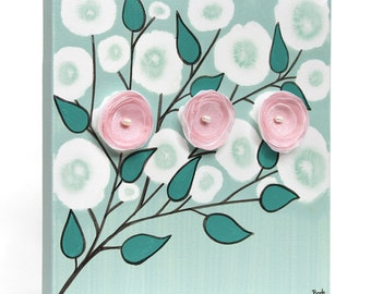 Baby Girl Canvas Art for Nursery Mixed Media Painting Pink and Teal Flowers - Small 10x10