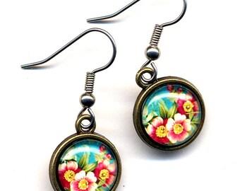 Blossom Cherry Earrings, Flower Earrings, Pink Earrings, Teal  Earrings, Nature Earrings,Surgical Steel Earrings by AnnaArt72