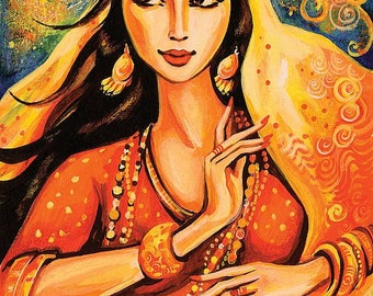 bollywood dance Indian dance beautiful Indian woman painting Indian decor art gift art giclee, poster woman wall print 8x11+