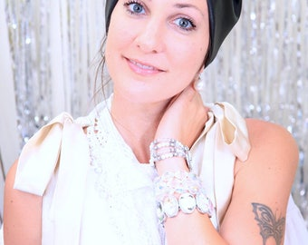 Faux Leather Turban in Black or White by Mademoiselle Mermaid