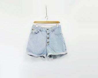 High Waisted Shorts 80s Denim Shorts Vintage 80s Cutoffs High Waist Shorts Light Wash Shorts Stone Jeans Shorts Button Fly Denim 32 waist m