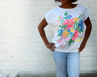 1980s Vintage Top Neon Flower Power Shirt
