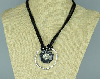 Recycled Tin Pendant Necklace, Silver Circle Necklace, Limited edition necklace