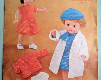 Dolls Clothes Vintage 1950s Knitting Pattern - Dolls Outfits / Layette to fit 12 and 14 inch dolls - original pattern 50s