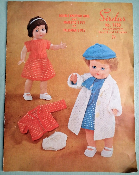 Vintage Knitting Patterns Dolls Clothes : Dolls Clothes Vintage 1950s Knitting Pattern Dolls Outfits