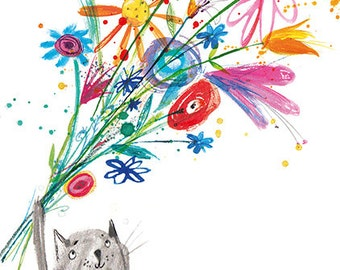 Cat and Flowers Greetings card