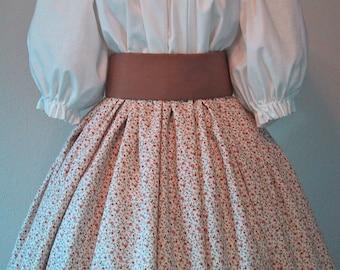 Long Skirt for Costume - Pioneer SASS - Civil War Reenactment - Floral Spice Print Cotton Fabric - Handmade