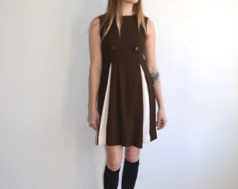 Vintage 60's Mod Pleated Mini Dress/School Girl Brown White Dress with Gold Buttons/ XS S
