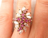 Vintage Gold Plated Sterling Silver Cocktail Ring with Rubies and Cubic Zirconia