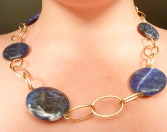 SALE ---- Vintage Ralph Lauren Matte Gold Plated Sodalite Necklace