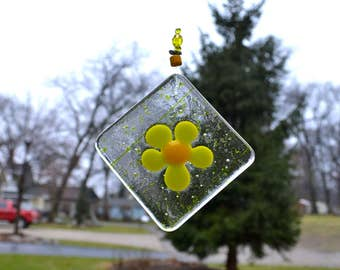 Spring Yellow Flower  Fused Glass Suncatcher