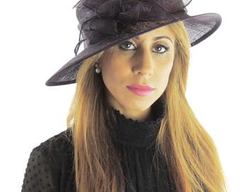 Black Flower Sinmay Hat for Kentucky Derby, Weddings, Ascot, Garden Parties