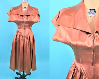 1930s satin dress | copper large pointed collar & waistline zip up party dress | vintage 30s dress | AS IS S