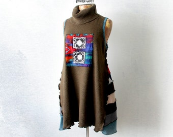 Plus Size Dress Turtleneck Sweater Green Patchwork Tunic Top Wearable Art Clothes Long Shirt Boho Clothing Women Art Fashion XL 1X 'RACHEL'