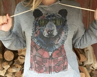 Hipster Bear Unisex Pullover Hoodie