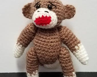Sock Monkey Miniature Brown Thread Artist Crochet  Ready to Ship