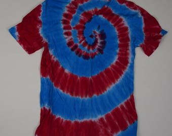 Red White and Blue ~ Spiral Tie Dye T-Shirt (Bella Canvas V-neck Size XL) (One of a Kind)