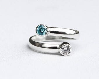Blue Topaz Ring, Sterling Silver Adjustable Ring, Blue and White Topaz Argentium Silver Ring, Non Tarnish Sterling Silver, Open Band Ring