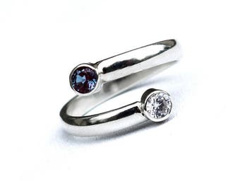 Colour Change Alexandrite Ring, Adjustable Alexandrite Silver Ring, Recycled Silver Dual Stone Ring, June Birthstone Ring, White Topaz Ring