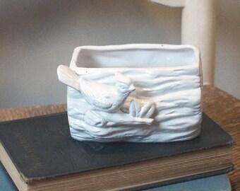 Vintage ceramic bird planter, painted white