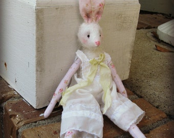 """Rabbit Art Doll - """"Harriet"""" -  Vintage Styled 10"""" Mohair and Cotton Soft Bunny Rabbit Doll - Fit Blythe Dresses"""