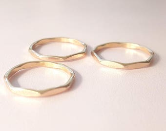 Gold Ring Band faceted ring stackable ring 14 gauge Thumb Ring Gold filled Stacking Ring