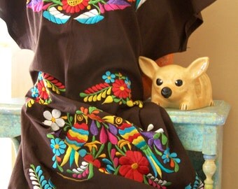 Mexican Dress, Brown Mexican Dress, Embroidered Mexican, Embroidered Flowers, Bird dress, size XL