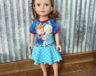 Frozen Sisters Doll Dress - Doll Outfit, Ready to ship