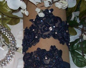 Sale Navy Garter Set,wedding Garter ,Bridal Garter,Navy Wedding,Something Blue, Plus Size Garter,Plus Size Bride,Wedding Accessories
