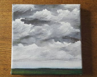 Untitled 6x6 original acrylic painting of a cloudy sky
