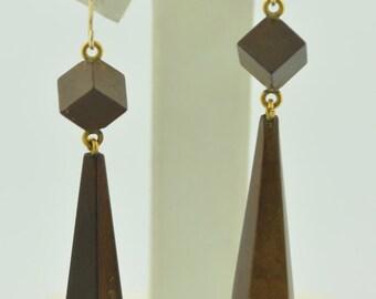 Victorian Vulcanite 10K Dangle Earrings