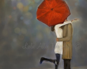 "Couple Art Print Couple Painting Couple Love Hugging Couple in Love Street Romance Romantic Art ""Because I Love You"" Leslie Allen Fine Art"